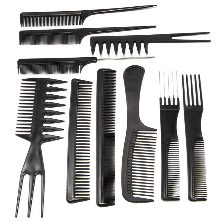 10 Style Pro Salon Haircut Combs Set Black Plastic Barbers 15cm - 23cm Hair Brush Styling Shaping Kit Hairdressing Equipment