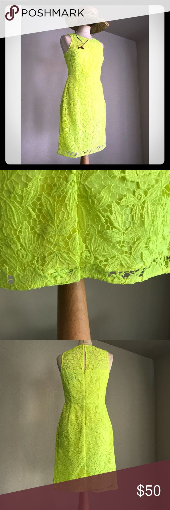 J. Crew Collection lace dress neon yellow Stretchy and form fitting cut to be very flattering. J. Crew dress neon yellow like a light lime green ! J. Crew Collection Dresses Mini
