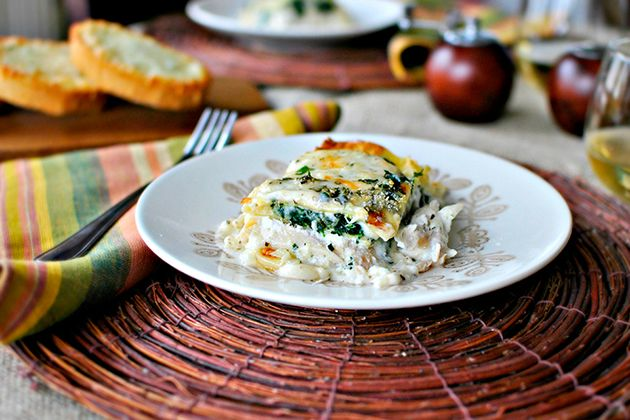 Tasty Kitchen Blog: White Cheese and Chicken Lasagna. Guest post by Laurie McNamara of Simply Scratch, recipe submitted by TK member Anna and Chelsea of Hidden Ponies.