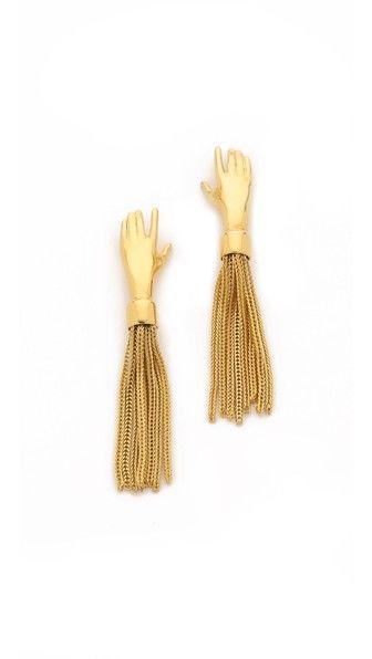Lady Grey Hand Tassel Earrings