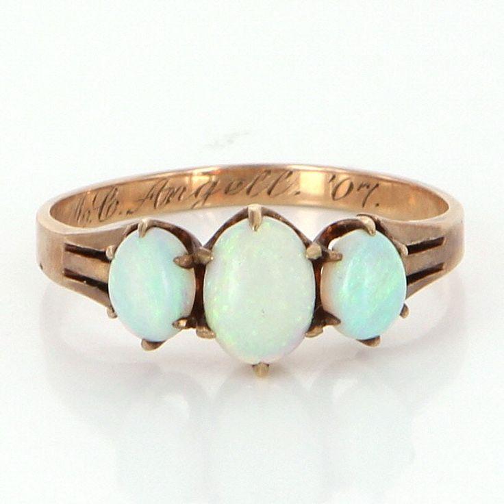 Antique Edwardian 10k Rose Gold Three Stone Opal Ring
