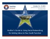 Social networking for auditors demonstrates how all auditors can use these new tools but also discusses the control, risk and audit issues.