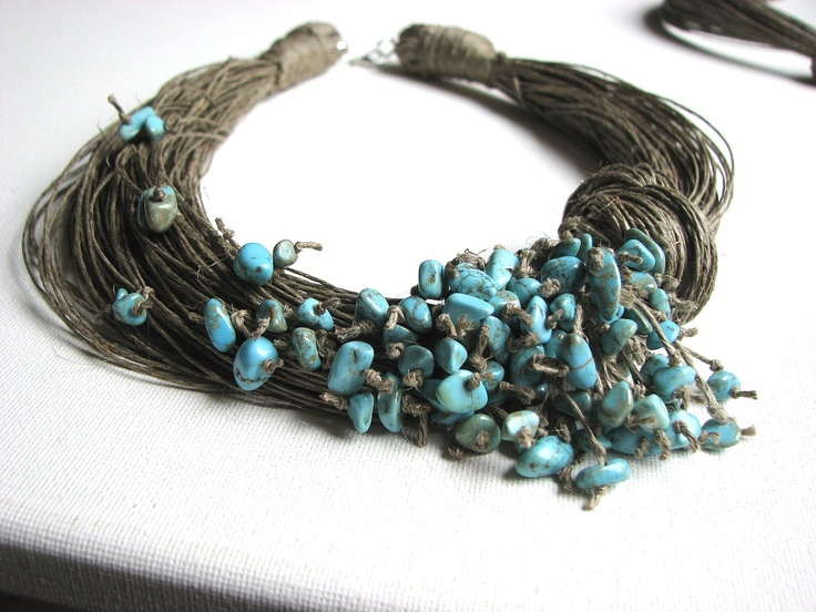 GreyHeartOfStone Designs. Linen and turquoise.