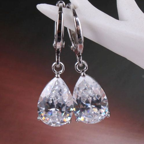 2 Colors: White and Emerald Green Teardrop Crystals 14k White Gold-Filled Dangling Sparkling Delicate Earrings! by Ameogem on Etsy