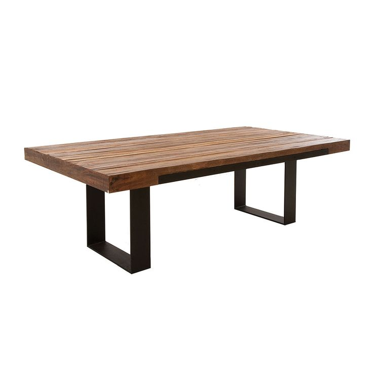 wooden dining table metal legs | ... Dining Room Graham Industrial Reclaimed Wood Dining Table 93