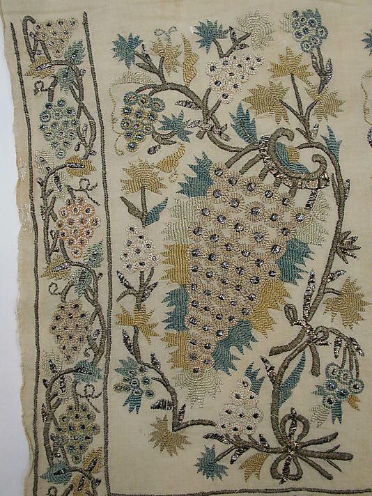 detail from sash or towel, 18th cent ottoman; silk, metal on linen