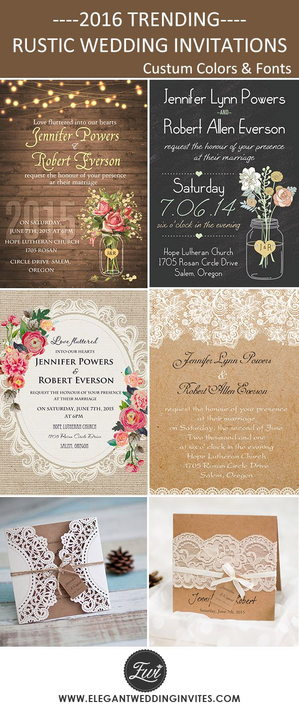 2016 trending country rustic wedding invitations- FREE RSVP CARDS ,FREE ENVELOPES, FREE SHIPPING @elegantwinvites