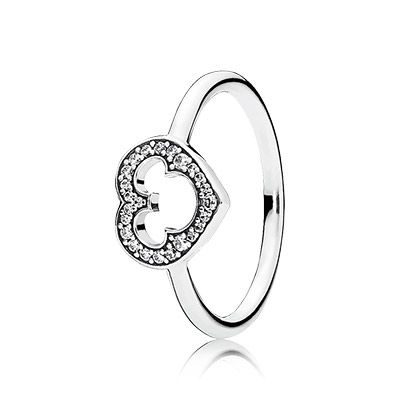 This ring is the epitome of beauty and simplicity. Showcasing a sparkling heart that features a cutout Mickey Mouse silhouette, the design fuses two timeless icons together, forever. #PANDORAlovesDisney