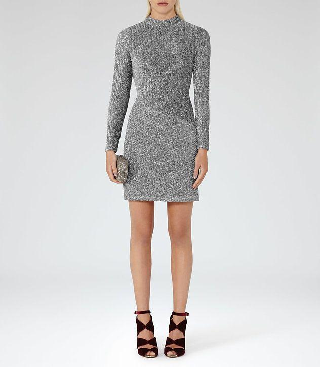 Candy Silver Metallic Bodycon Dress - REISS