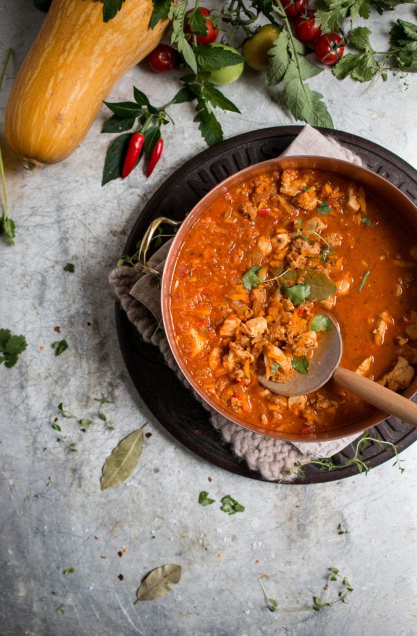 spicy jambalaya with butternut squash rice and a electric spiralizer giveaway - twigg studios
