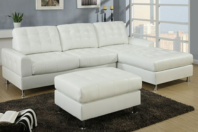 Proportion! 2 pc Reversible Cream bonded leather sectional sofa with chaise lounge with chrome legs and tufted back and seats