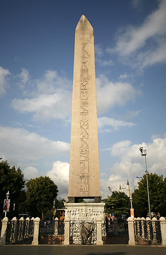 Istanbul, Obelisk of Theodosius. The Obelisk of Theodosius (Turkish: Dikilitaş) is the Ancient Egyptian obelisk of Pharaoh Tutmoses III re-erected in the Hippodrome of Constantinople.
