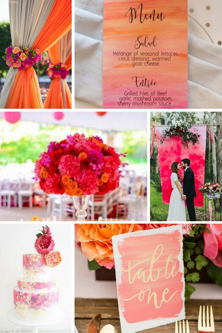 Pink és narancs akvarell | Esküvői színek 2017 - 15 trendi színkombinációt mutatunk a tökéletes esküvői dekorációhoz. Inspirálódj velünk!