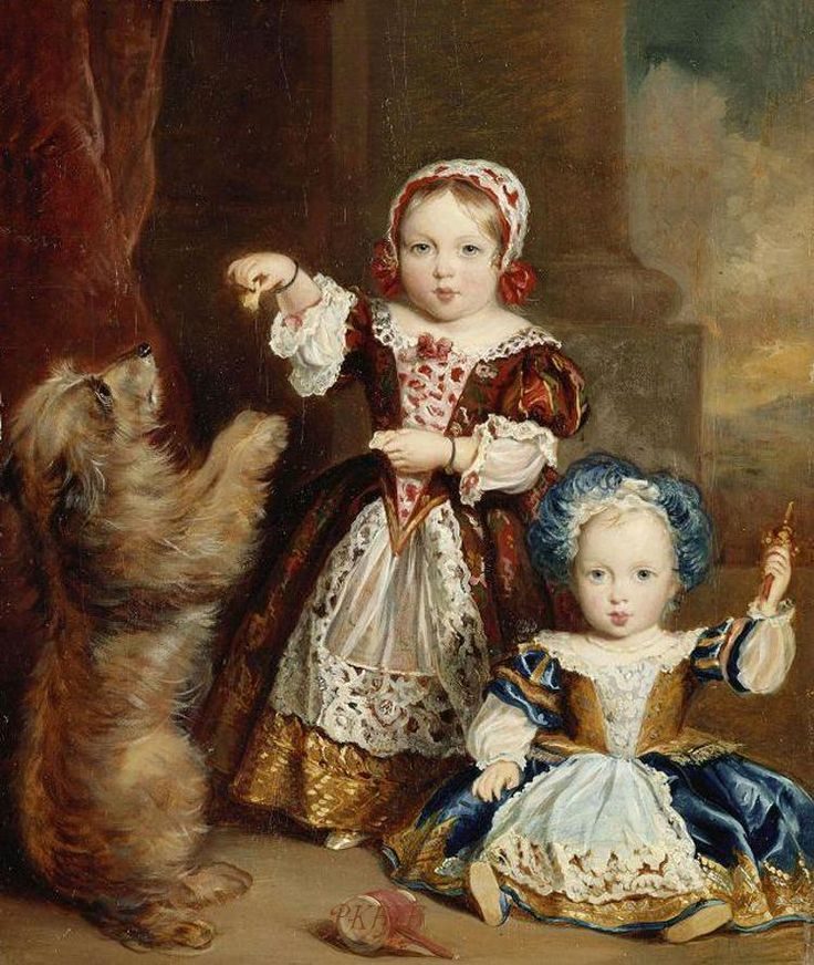"""The 1st & 2nd Children of Queen Victoria  (1819-1901) UK & Prince Albert (1819-1861)  The Princess Victoria Adelaide (1840-1901) feeding dog & young brother Albert Edward """"Bertie"""" (Edward VII) (1841-1910)  by Thomas Musgrove Joy in 1843."""