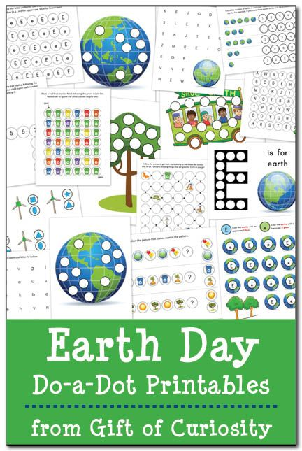 Free Earth Day Do-a-Dot printables. 21 pages of Earth Day themed fun focused on colors, shapes, patterns, numbers, and letters geared toward kids ages 2-5. #EarthDay #DoADot || Gift of Curiosity