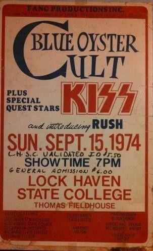 15.9.1974; blue öyster cult - kiss - rush; usa, lock haven, thomas fieldhouse; (db)
