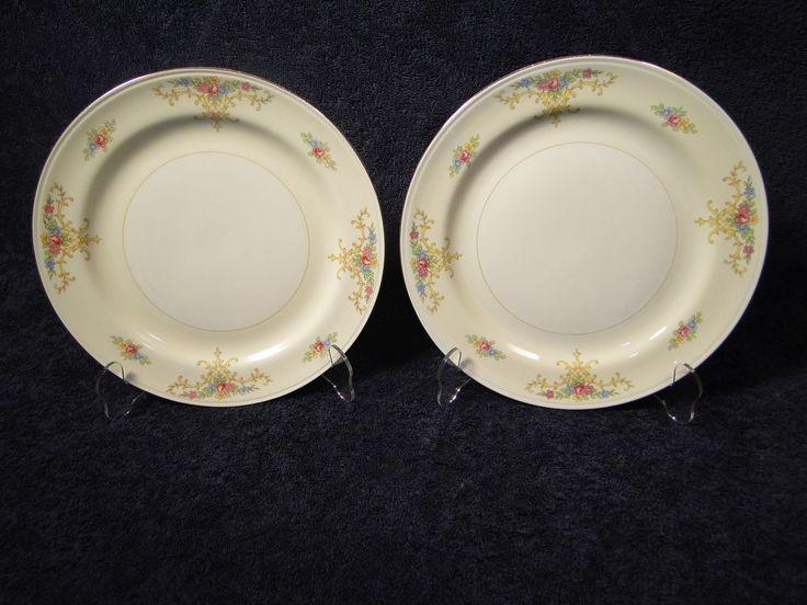 """Homer Laughlin Eggshell Nautilus Rochelle Dinner Plates 9 7/8"""" TWO EXCELLENT #HomerLaughlin"""
