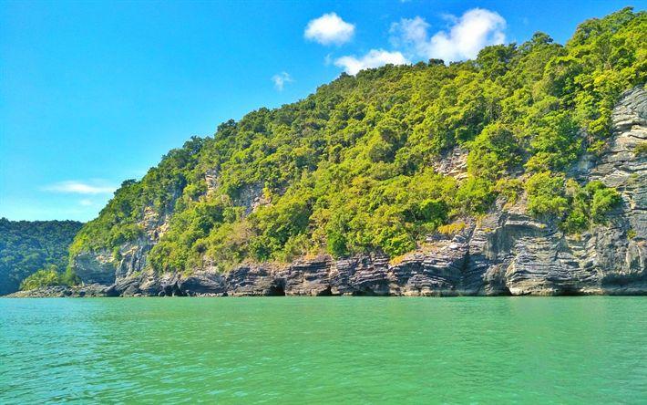 Download wallpapers Thailand, sea, coast, cliffs, summer, Asia
