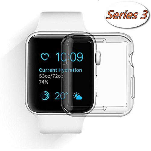 Apple Watch 3 Case, Smilelane iwatch Screen Protector All-around 0.3mm Ultra-thin Soft Transparent Cover for apple watch Series 3 42mm - - Specifically designed for Apple Watch 42mm Series 3 Easy access to all buttons and ports without having the case removed. - Protects your new iwatch against dust, dirt, bumps, scratches and damage. - Easy Install: Sturdy yet flexible premium TPU material for easy installation, soft hand feel. 9...