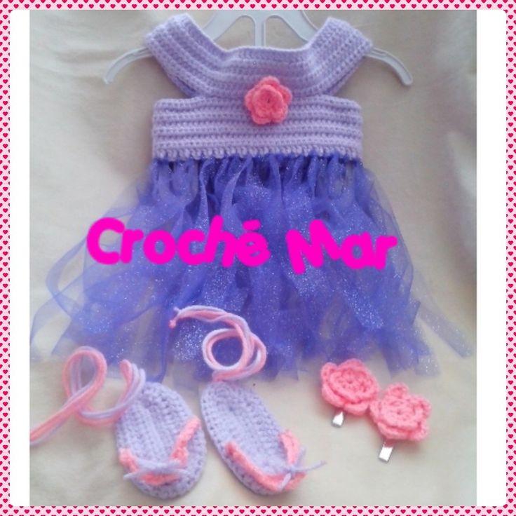Vestido morado con flor por Croche Mar