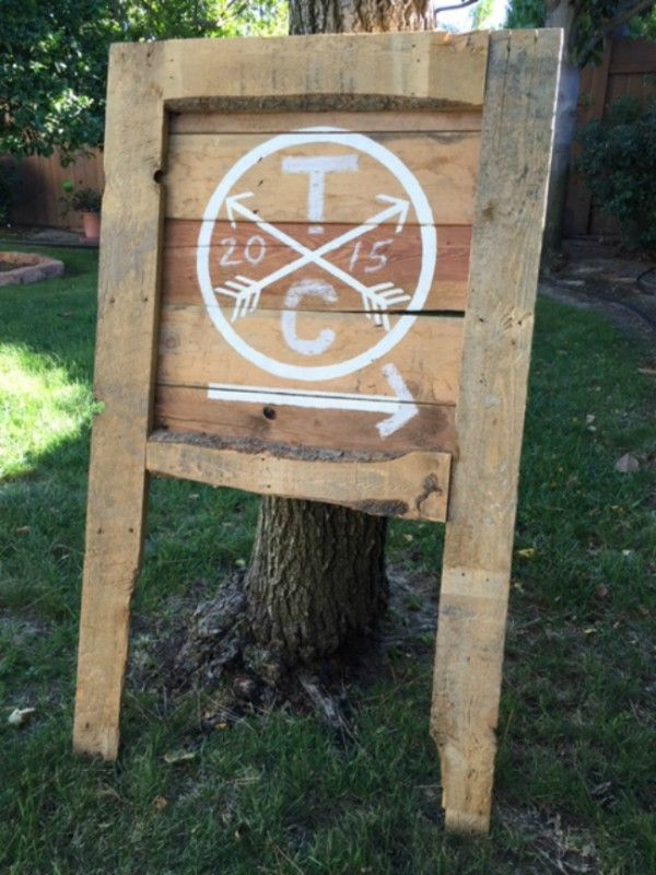 "Customizable ""hipster"" logo directional signs made from reclaimed wood. Made custom for our fall wedding with all of our info in chalk that has been washed away. A clean slate for you to add your own initials, other info, and directional arrows to the signs in chalk or paint. Perfect for directing wedding guests from …"