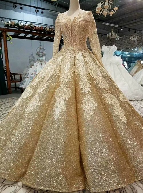 gold ball gown off the shoulder sequins long sleeve