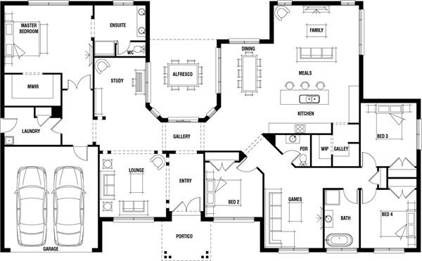 Hillside Home Design Wide Frontage House Plan Porter Davis Home Design Floor Plans Floor Plans New House Plans