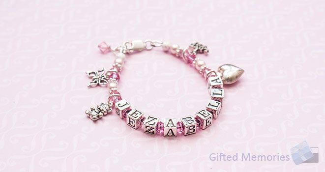 'Sugar and Spice' Girls Personalised Name Bracelet. Find it at www.giftedmemoriesjewellery.com.au