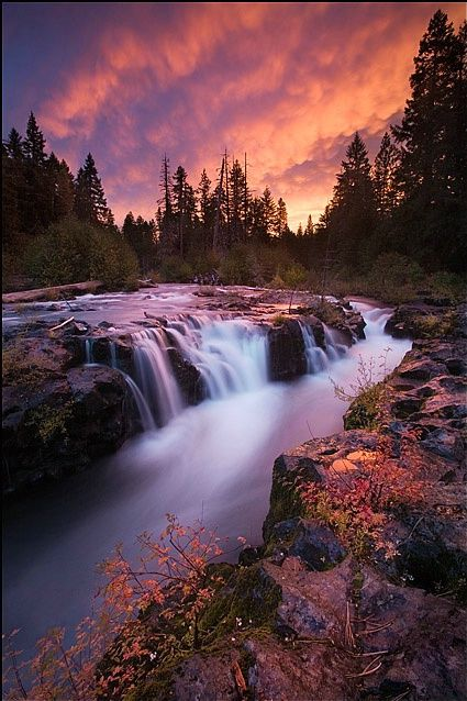An amazing sunrise light display at the Rogue Gorge on the upper Rogue River in the southern Oregon Cascade Range.