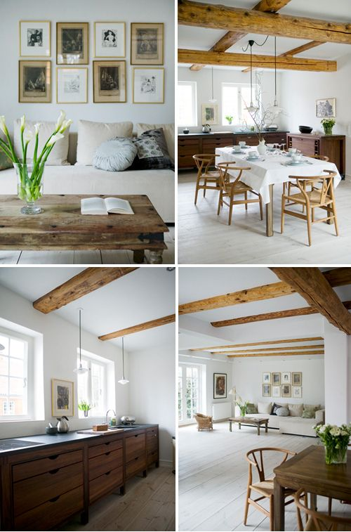 Scandinavian Family Home . Grey Floors, White Walls, Wood On The Ceiling.