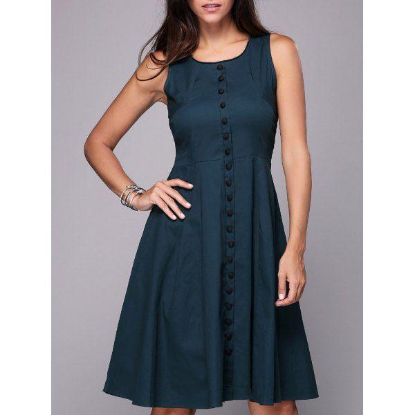 Vintage Sleeveless Single-Breasted Pure Color Women's Knee-Length Dress   TwinkleDeals.com
