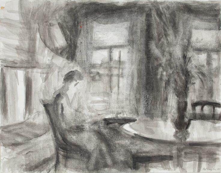 (1024×803)ИЛЛАРИОН ГОЛИЦЫН У окна. 1985 Бумага, черная акварель. 39,1x49,8  Третьяковская галерея Источник: пресс-релиз ГТГ