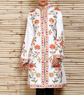 White Long Silk Jacket with kashmiri embroidery and great colors