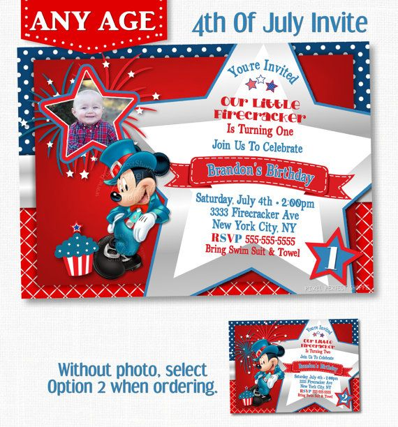 Mickey Mouse 4th Of July Birthday Invitation Red W