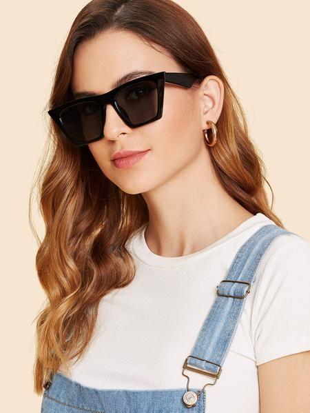 d09701392a78 Cat Eye Flat Lens Sunglasses