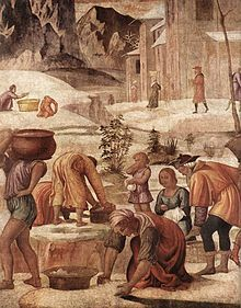 luini , raccolta ddella manna, 1525 ca - Affreschi da villa La Pelucca - Wikipedia