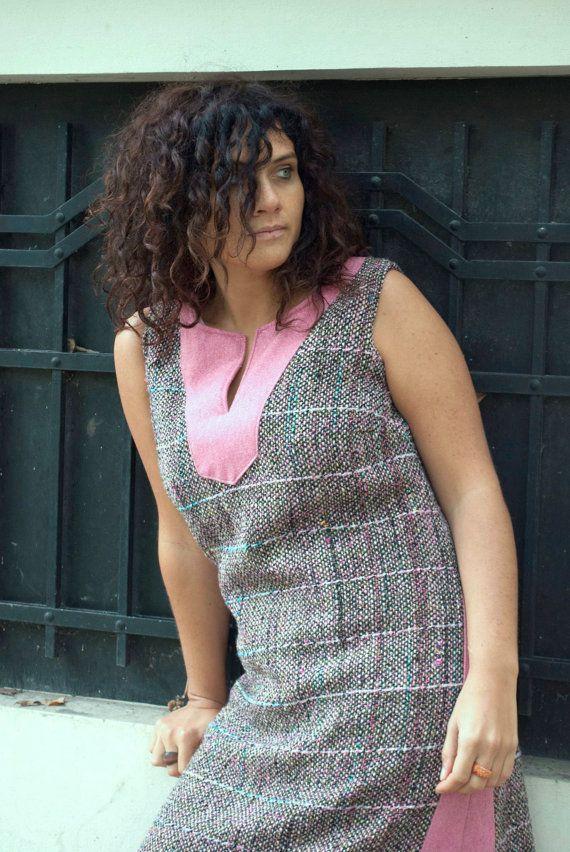 Hand Woven Unique Sleeveless Baker-Miller Pink Dress Knee