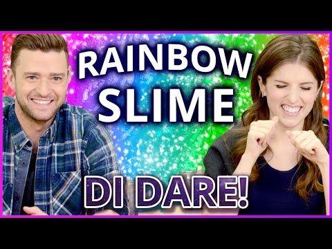 DIY NEON RAINBOW SLIME?! Di Dare w/ Justin Timberlake and Anna Kendrick - YouTube