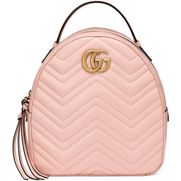 Gucci Gg Marmont Quilted Leather Backpack ($1,790) ❤ liked on Polyvore featuring bags, backpacks, light pink, chevron backpack, chevron pattern backpack, chevron print backpack, zipper bag and pink chevron backpack