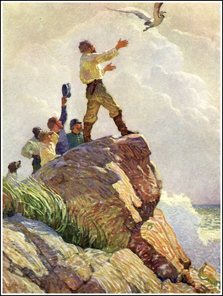 """N.C. Wyeth Illustration from """"The Mysterious Island,"""" by Jules Verne (1918)"""