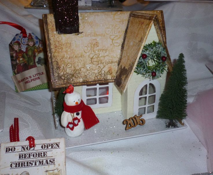 Rustic Glitter House made out of chipboard 100% handmade