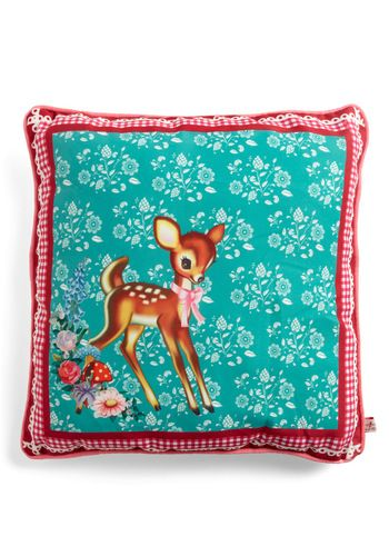 All Fawn and Games Pillow by Wu & Wu - Blue, Multi, Red, Brown, White, Floral, Print with Animals