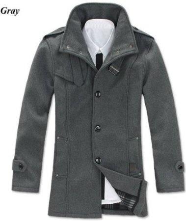 Grey wool men's coat