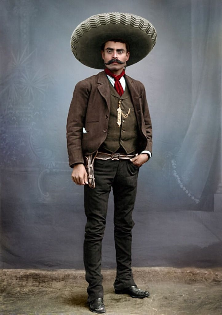 Emiliano Zapata, colorized photo. Mexico City 1914