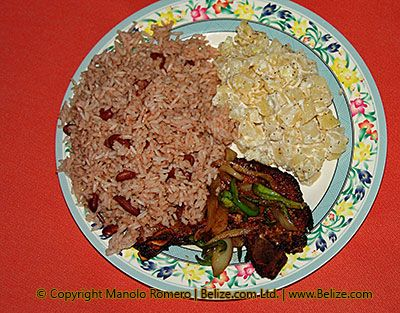 Love my belizean food [rice&beans, stew chicken, and potato salad]. ♥  Ate a similar dish in Belize and it was amazing!