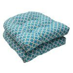Pillow Perfect Indoor Outdoor Hockley Wicker Seat Cushion Teal, Set of 2