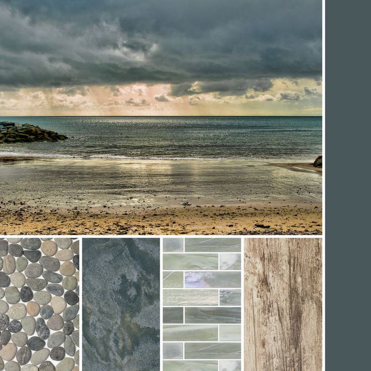 A palette of smokey blue-grey textures inspired by the stormy sea.  #thetileshop #inspiration