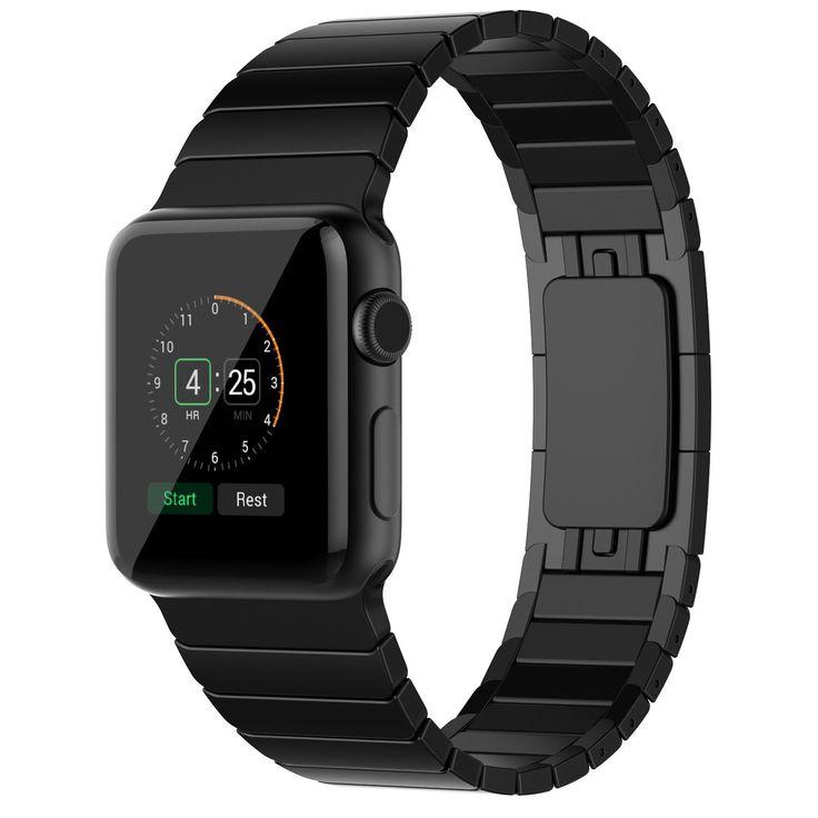 Apple Watch Bracelet, JETech 38mm Acier Inoxydable Bracelet Lien avec Fermeture Papillon Remplacement Band Strap pour Apple Watch Tous les modèles 38mm (Noir): Amazon.fr: High-tech
