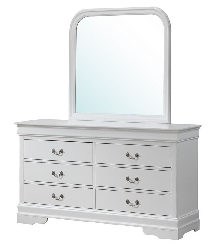 Glory White Dresser With Mirror G3190-D-M - Glory White Dresser With Mirror G3190-D-MSKU: G3190-D-MManufacturer: Glory FurnitureCategory: BedroomFinish: WhiteProduct Type: DresserAssembly Required: NoCountry of Manufacture: MalaysiaShipping Type: LTLFreight Class: 150NMFC Code: 79740Number Of Boxes: 1Weight: 117.37Dimensions: 33H x 60W x 18DCarton Dimension-1: 62 W x 20 D x 37 H Inches, Weight: 121 LbsFeature: Wood VeneerDove Tail Drawers.