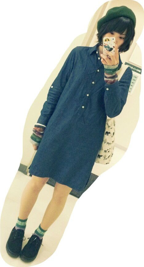 芸大生コーデ ✳︎ ベレー帽 ▷Hether ワンピース▷UNIQLO インナー▷sodalite 靴下▷チュチュアンナ 靴▷通販 楽チンコーデ♡